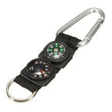 1 ks Keychain Mini Multifunkční 3 v 1 turistické cestovní kompasový teploměr Carabiner Key Ring Sportovní venkovní zboží