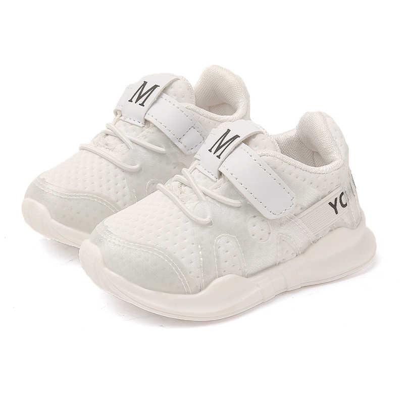 2018 otoño nuevo moda red transpirable Rosa ocio zapatillas deportivas para niñas zapatos blancos para niños zapatos de marca para niños