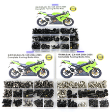 Motorcycle Accessories Full Fairing Bolts Screws For Kawasaki ZX 10R ZX-10R 2004 2005 OEM Style Washer Nuts Fastener Clips 04-05 motorcycle 154 pcs stainless steel full fastener bolts screws assortment kit for kawasaki kx kxf 125 250 450 2003 2004 2005 2018