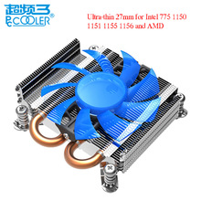PCcooler S85 4pin pwm 2 heatpipe ultra-thin for HTPC mini case all-in-one for Intel 775/1155/1156 CPU cooler fan radiator Silent