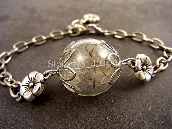 10pcs Lot Real Dandelion Bracelets L Orb Plant Jewellery Bronze Silver