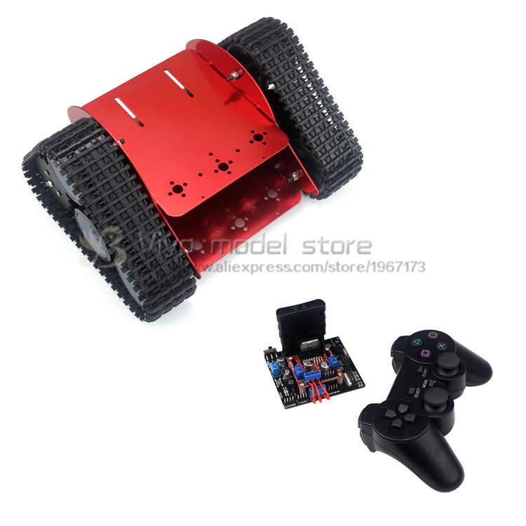 DIY wifi intelligent vehicle robot red Aluminum Tracked robot chassis RC Model tank nylon crawler chassis unassembled diy tracked robot