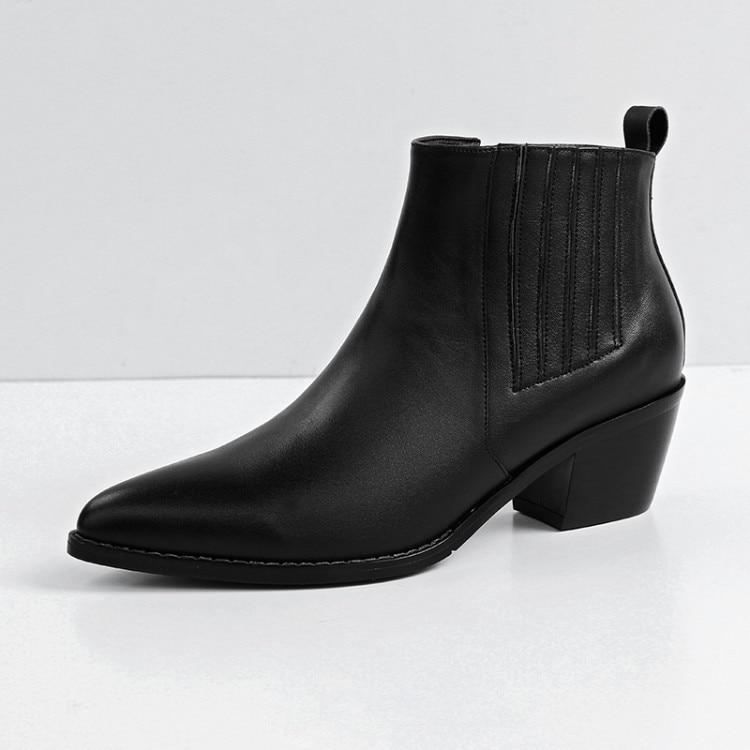 Bottes Peluche Noir Talons 2019 En Véritable Femmes D'hiver Cheville Hauts Chaussures Cuir De Chelsea À Chaud {zorssar} Stq5w6x5