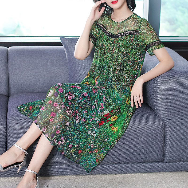 Image 4 - Vintage Peacock Green Silk Dress 2018 Floral Print Summer Dresses Plus Size M 3XL Gown Lace Stitching Short Sleeve Robes-in Dresses from Women's Clothing