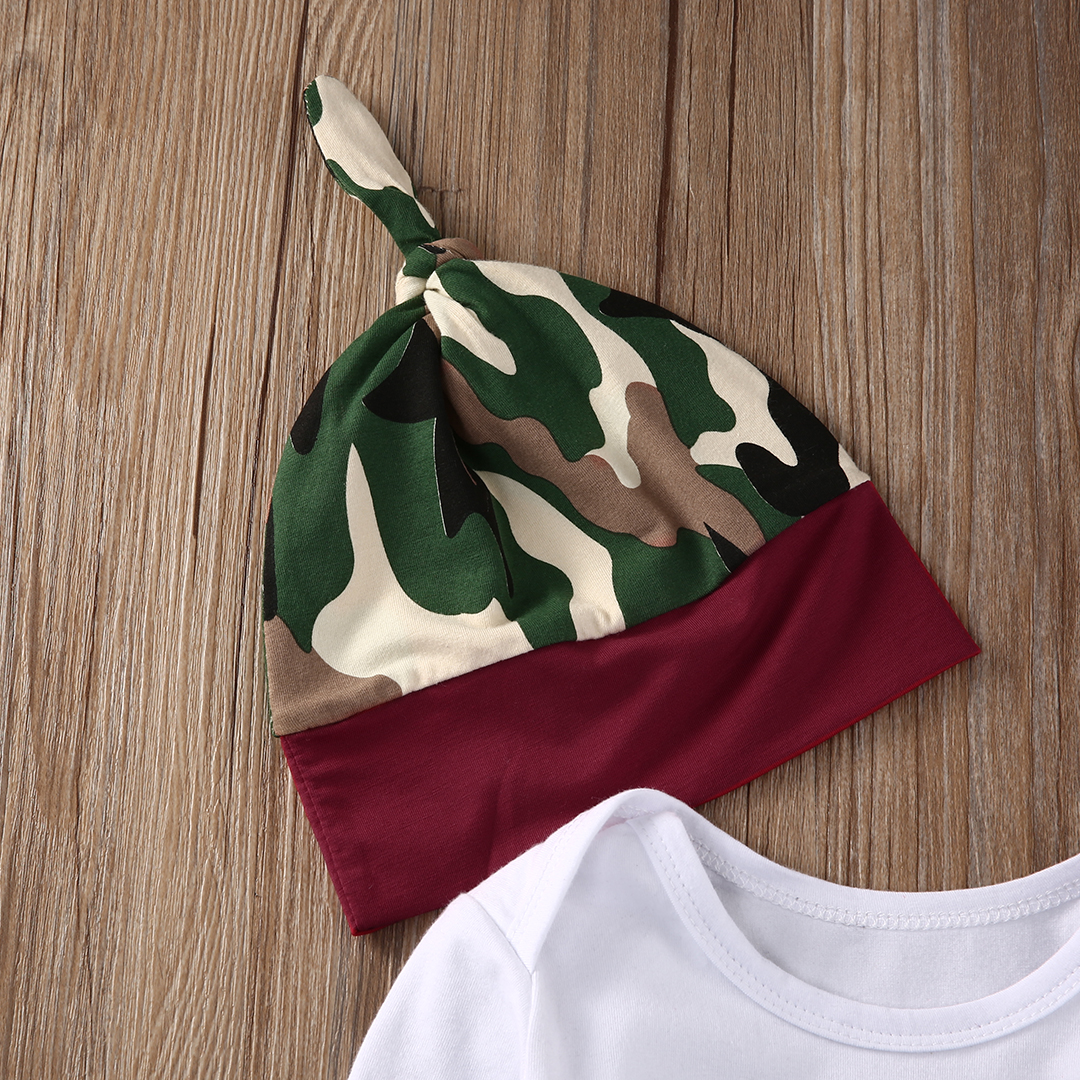 New Year 3Pcs Infant Babies Camouflage Clothing Set Baby Boys Girls Bodysuit Onesie+Camo Pants+Hat Outfits Clothes Suit