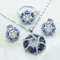 Otogo Transing Romantique fine brideSets bleu cristal coloré blanc fleur collier grand anneau D'oreille boucles d'oreilles Ensemble de Bijoux pour les femmes