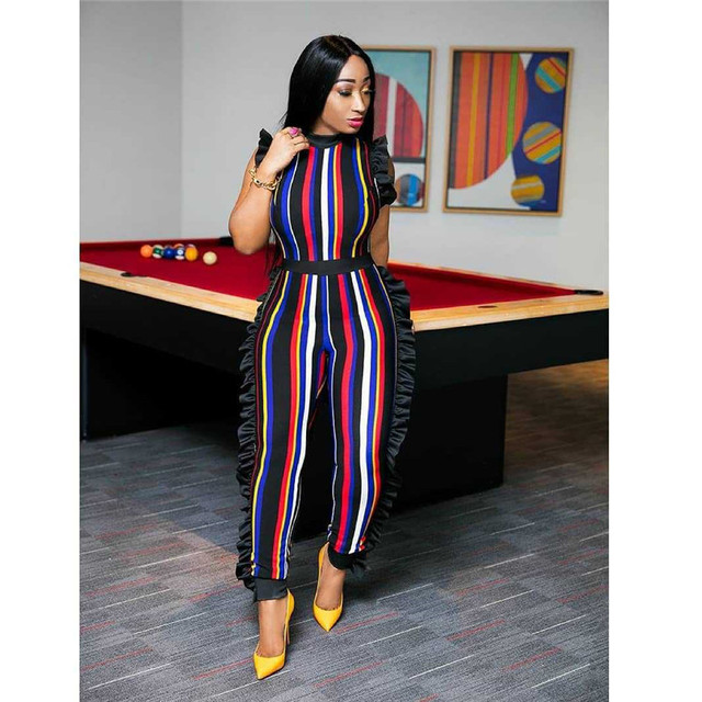 Multicolor Striped Print Rompers Womens Jumpsuit Wrap Overalls