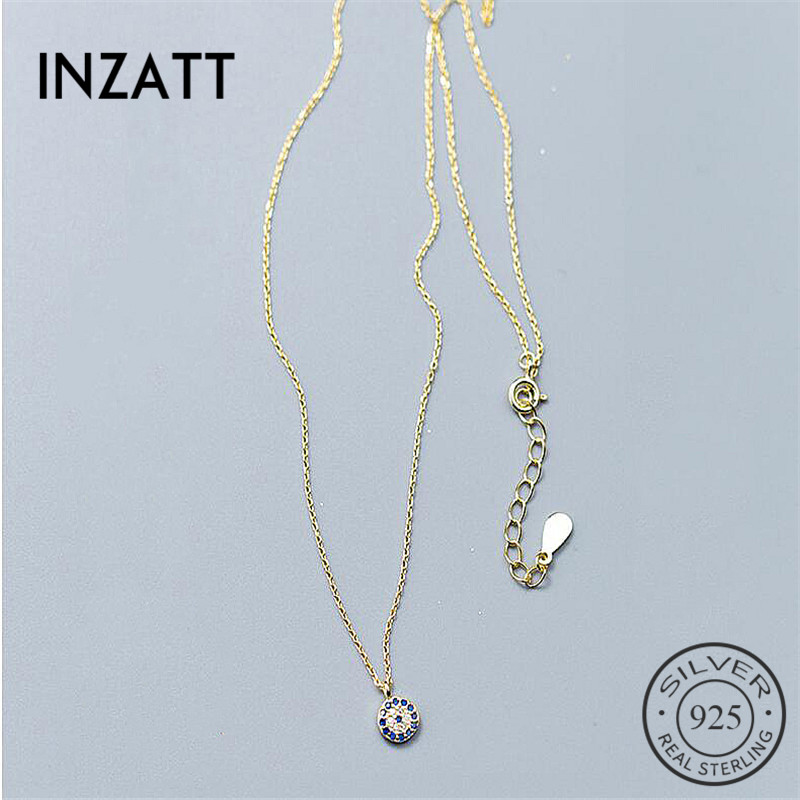 INZATT Trendy Talisman Blue Eyes Of Zircon Pendant Necklace 925 Sterling Silver Gold Color For Women Party Fashion Eye Choker
