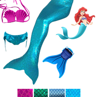 2016 New Ariel Mermaid Tail Kid Girls 3pcs Tops Panties Mermaid Tail For Swimming Monofin Swimmable
