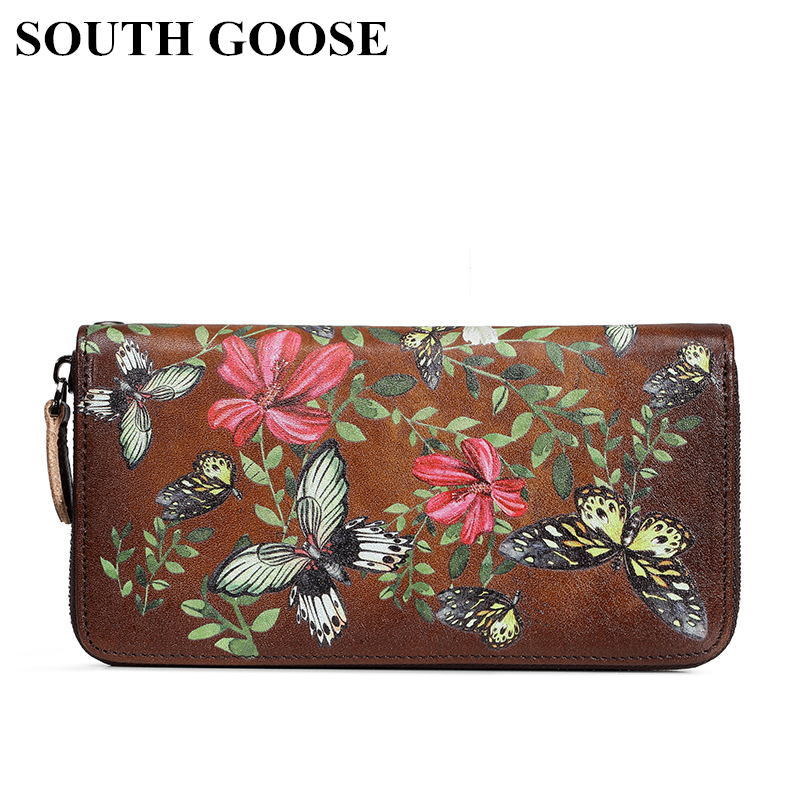SOUTH GOOSE Hot Sale Women Clutch Wallets Genuine Leather Long Handy Bag Butterfly Embossing Female Card Holder Strap Money Bag