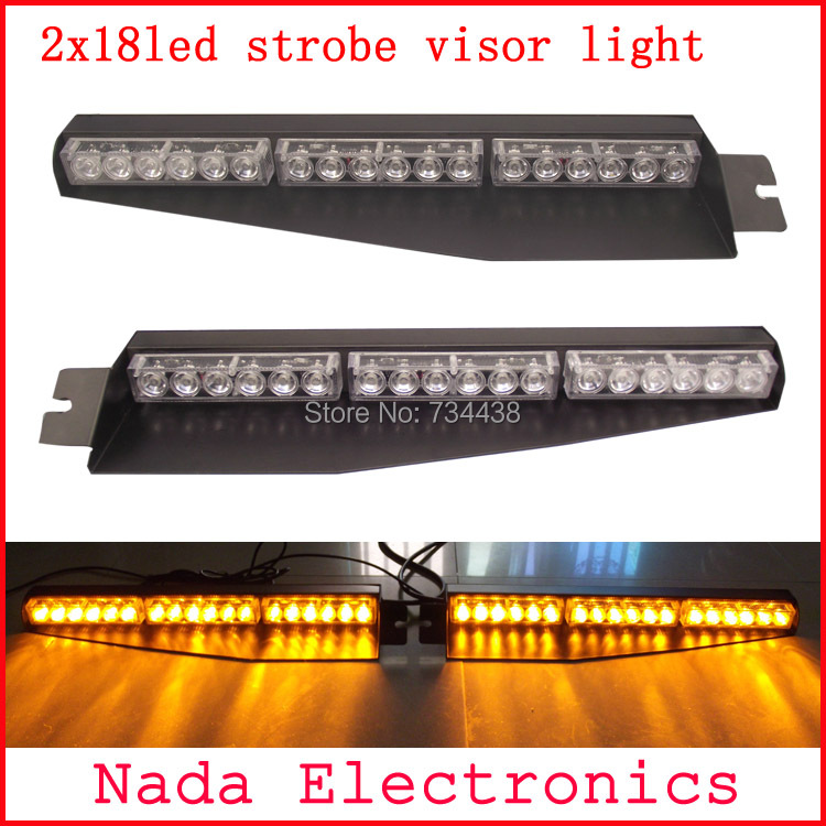 2x18led Police car visor light led strobe lights auto dash board windshield lamp car warning light RED BLUE WHITE AMBER GREEN s2 shovels ray bead 96w led flashing police strobe intimidator windshield dash light