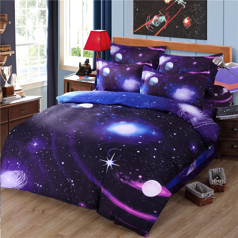 Modern science technology bright 3D silvery galaxies Bedding Set DuvetCover Flat Sheet Pillowcase Queen full Twin Size bedclothe