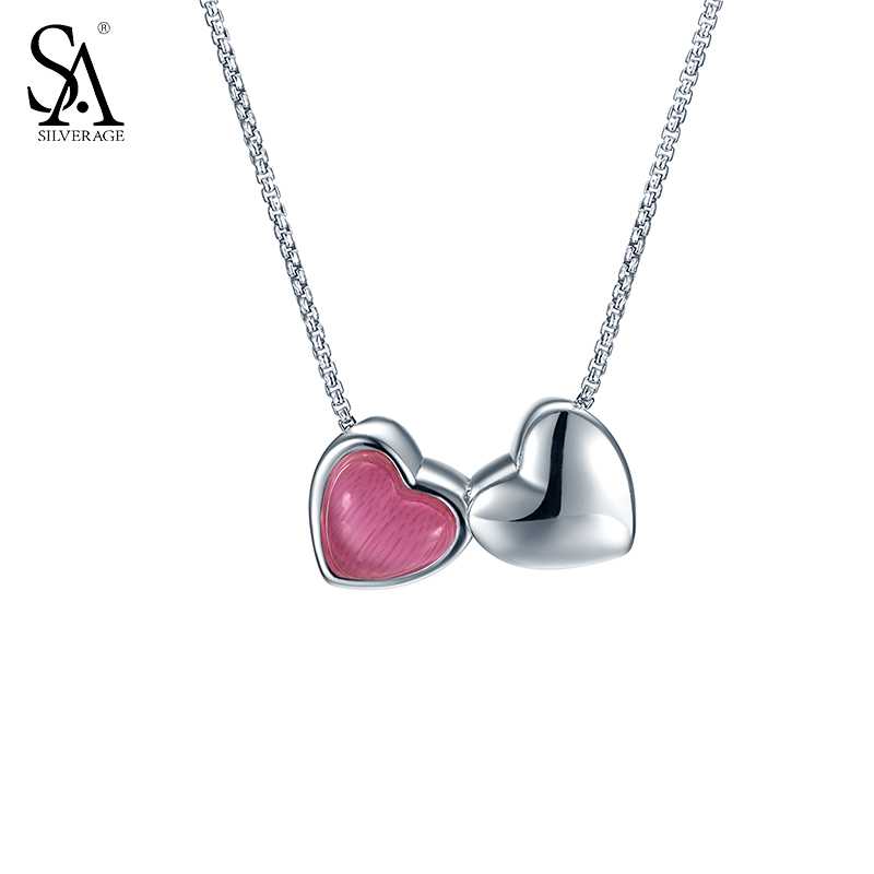 SA SILVERAGE 925 Sterling Silver Jewelry For Women Double Love Heart Red Pendant Necklace for Women original dropshipping my sweet pet paw love necklace girl 925 sterling silver pendant necklace for women fashion jewelry gifts