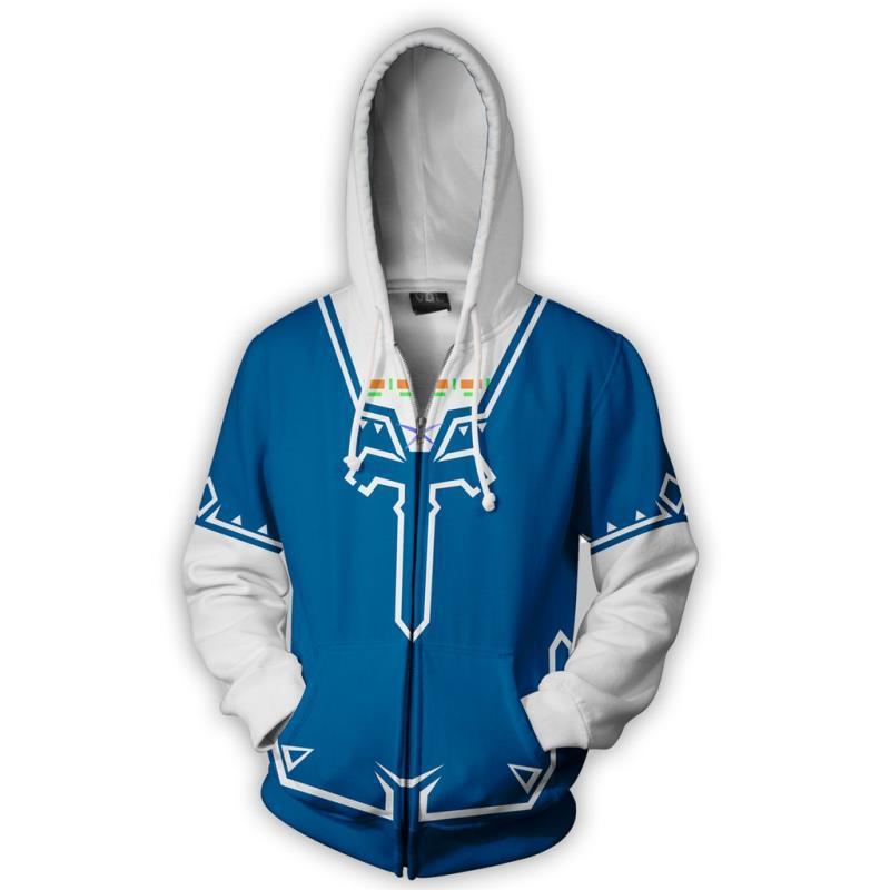 2018 Autumn Winter 3D Print Legend of Zelda Sweatshirts Hoodies Fashion Cosplay Zipper hooded Jacket clothing