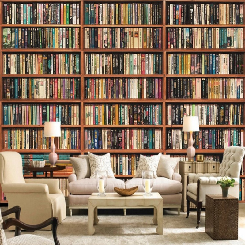 bookshelf office library custom study mural living 3d wallpapers improvement