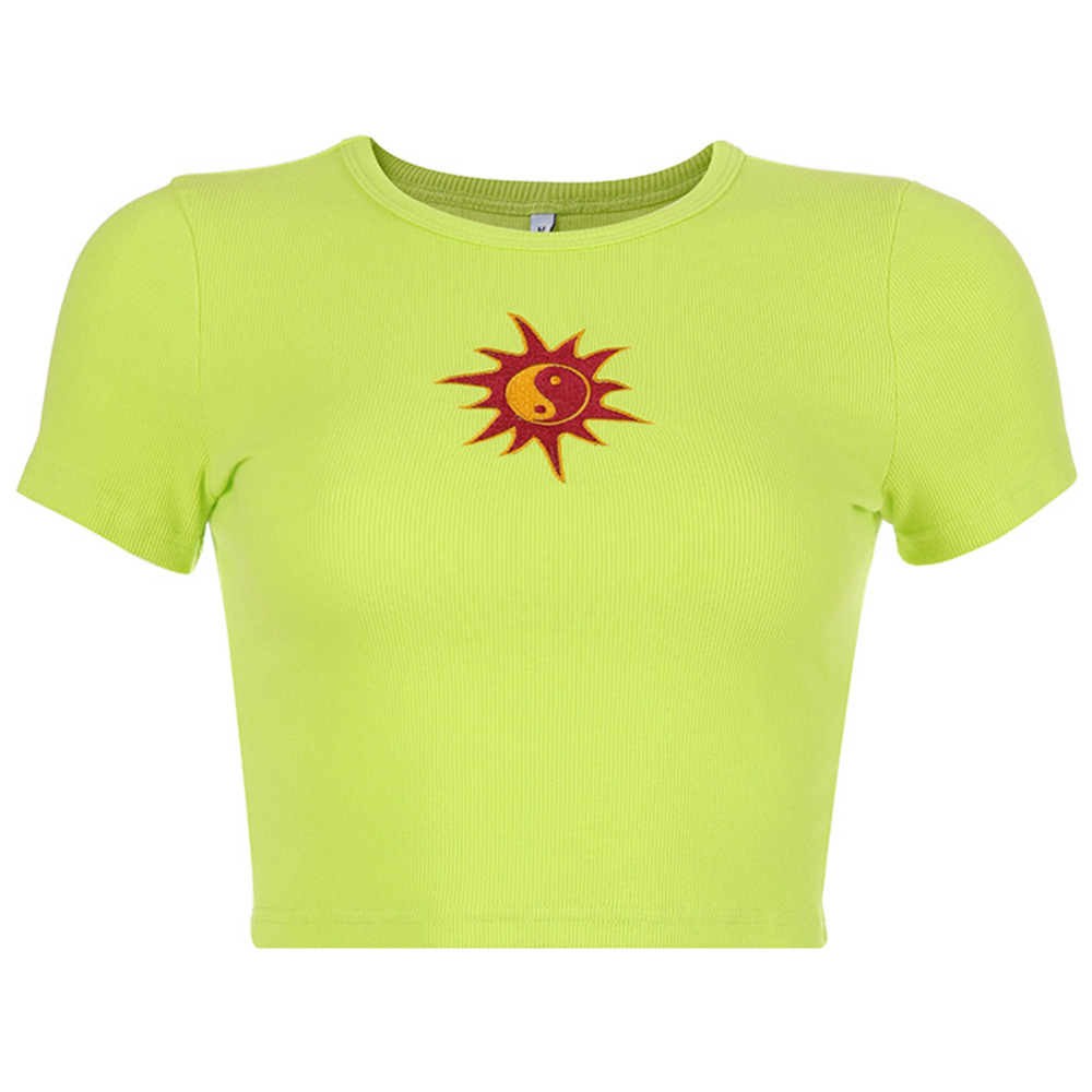 Summer T shirt Short Sleeve Sun Embroidery Crop Tops 2019 Women Knitted Slim Leisure T Shirt Female Streetwear Tees Blue Green in T Shirts from Women 39 s Clothing