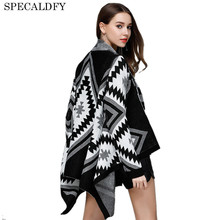 Pull Femme 2018 Autumn Winter Women Knitted Sweater Poncho Plaid Geometric Casual Loose Irregular Cardigan Feminino Jumper Coat