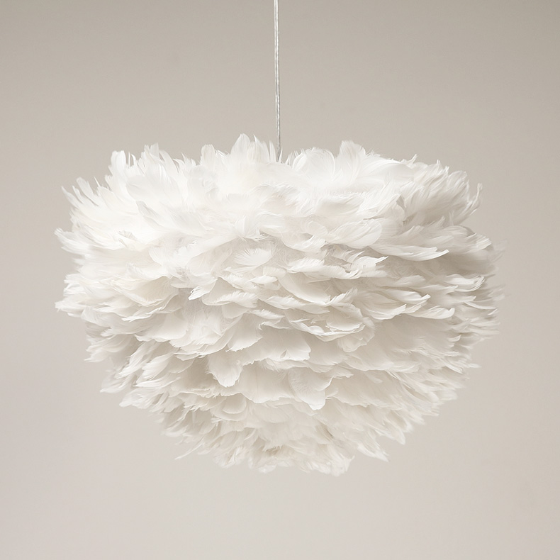 Ecolight Ecolight Led Modern Pendant 3 Lights White Feather Dia60cm Cord Suspension Lamp for Dinning Room luminaria Lighting