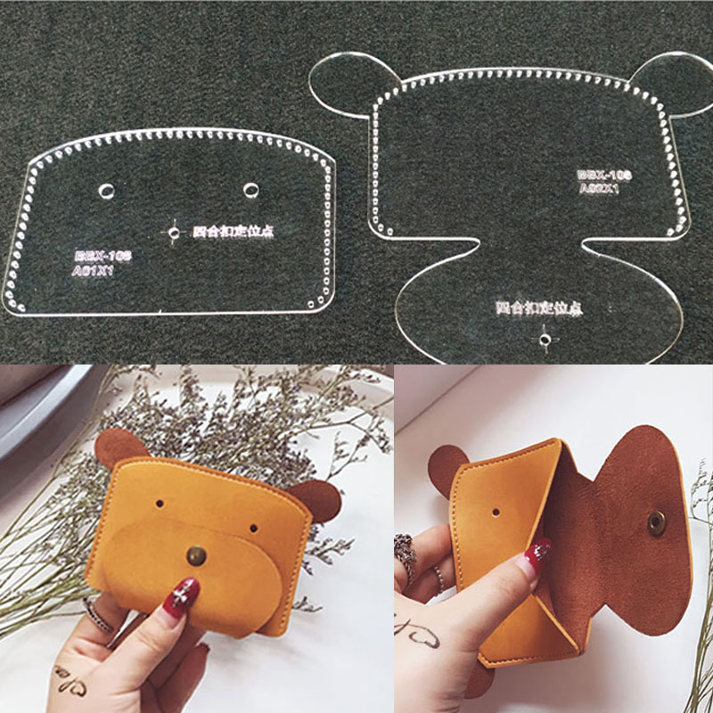 1set DIY Leather Handmade Craft Cartoon Bear Handbag Wallet Purse Sewing Pattern Acrylic Stencil Template 12x8.5x1cm