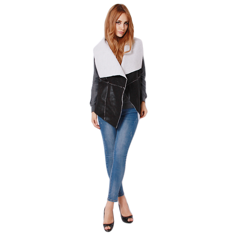 Hot Sales Spring Women Lady Fashion Collar Vest Long PU Leather Waistcoat Black Casual Outerwear IU660304