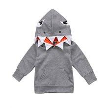 42c5fa9d63563 2018 Nouvelle Mode Enfant Enfants Garçons Animaux Shark Manches Longues À  Capuche Tops À Capuche Casual Vêtements Gris Survêteme.