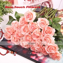 10Pcs Valentines Day Gifts Real Touch Flowers Rose Silk Latex Artificial For Wedding Decoration Fake
