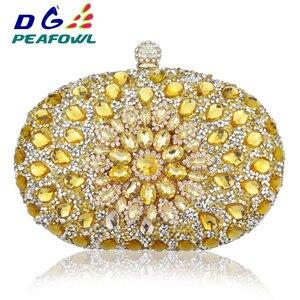 Image 4 - Luxe Clutch keten zak vrouw wedding diamond crystal Bloemen blauw rood Sling designer portemonnee mobiele telefoon zak portemonnee Handtassen