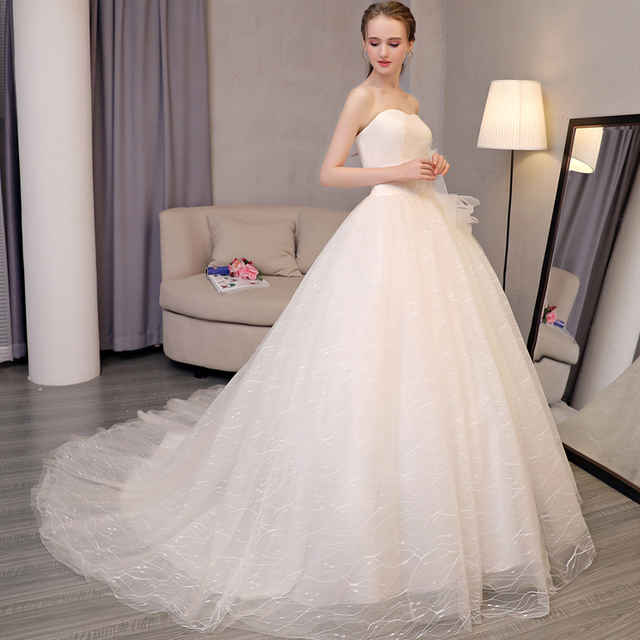 Cheap Champagne Wedding Dresses Ball Gown Sweetheart Lace Up Tulle Applique Sequin Bridal Vestido De