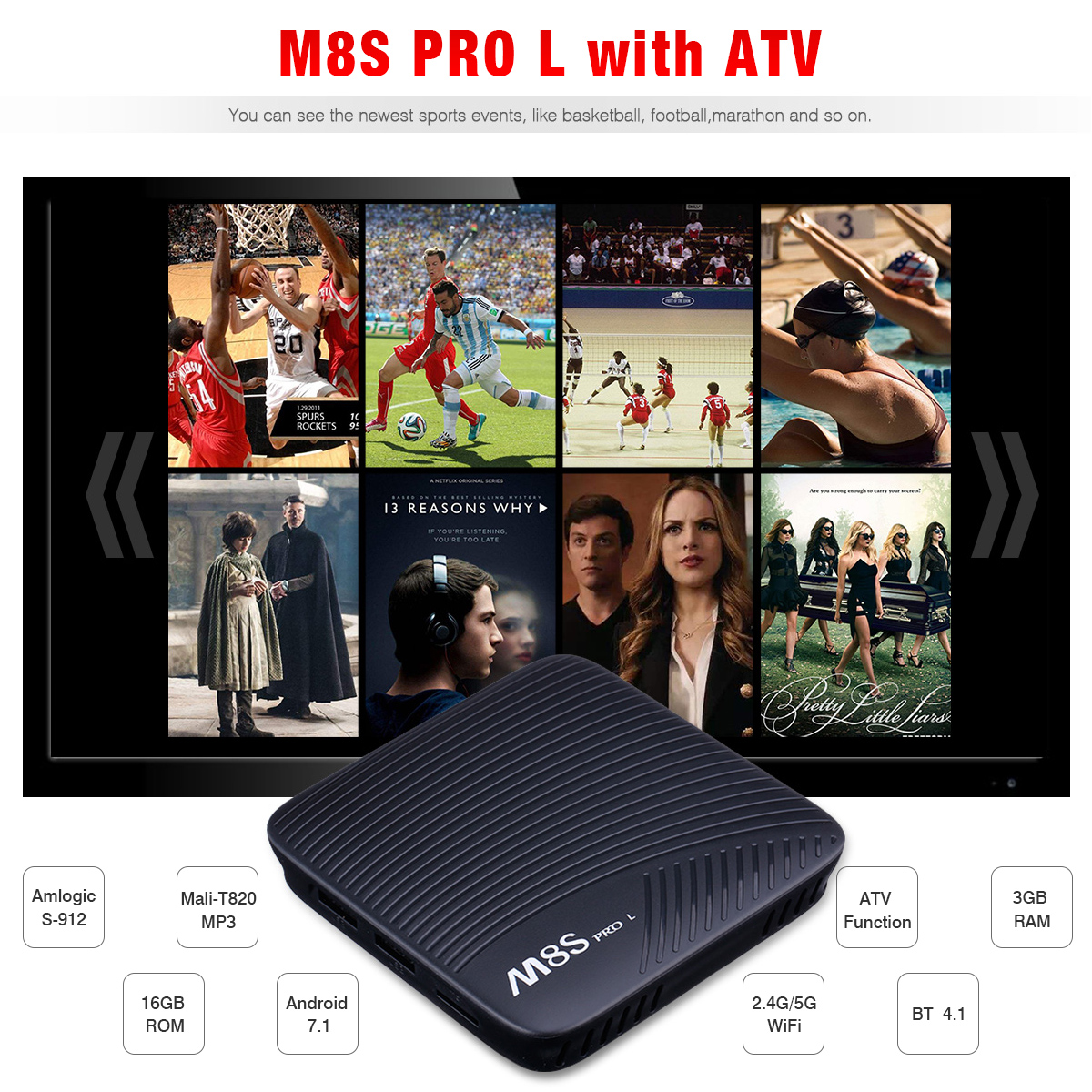 M8S PRO L ATV Android 7.1 Amlogic S-912 Octa Core 3GB+16GB Mali-T820MP3 GPU 4K Dual WIFI BT OTA TV BOX EU телеприставка vsmart m8 amlogic s802 2 8 2ghz 4k android ota hdmi bluetooth 4 0