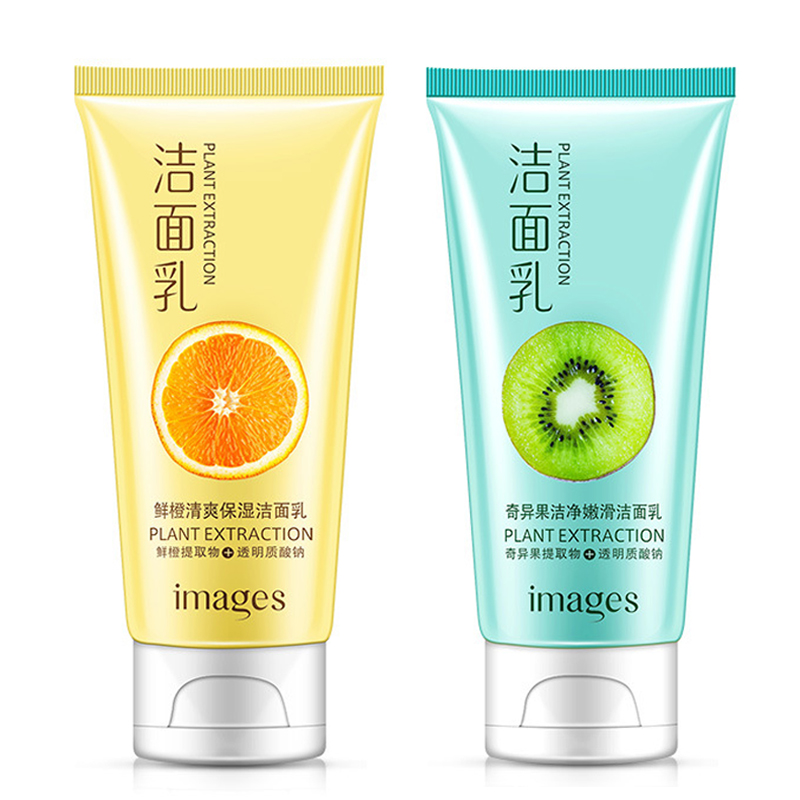 IMAGES Kiwi Fruit Fresh Orange Facial Cleanser Face Wash Deep Clean Nourishing Foam Moisturizing Whitening Anti-Spots Marks