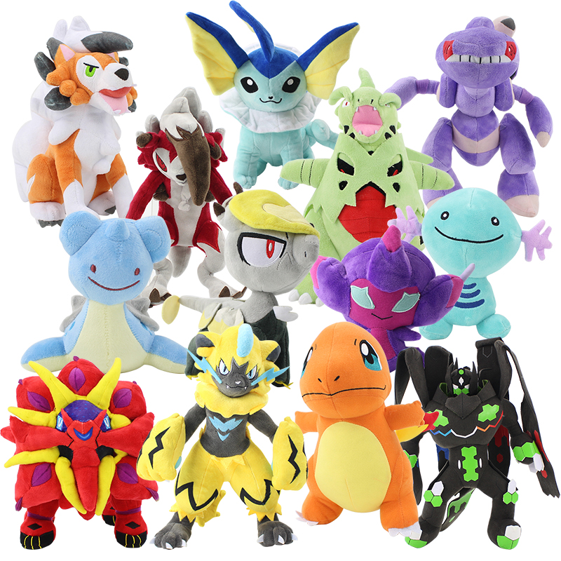 14-35cm Lapras Tyranitar Zygarde Genesect Dragon Jangmo-o Lycanroc Poipole Solgaleo Vaporeon Zeraora Soft Stuffed Plush Toy Doll