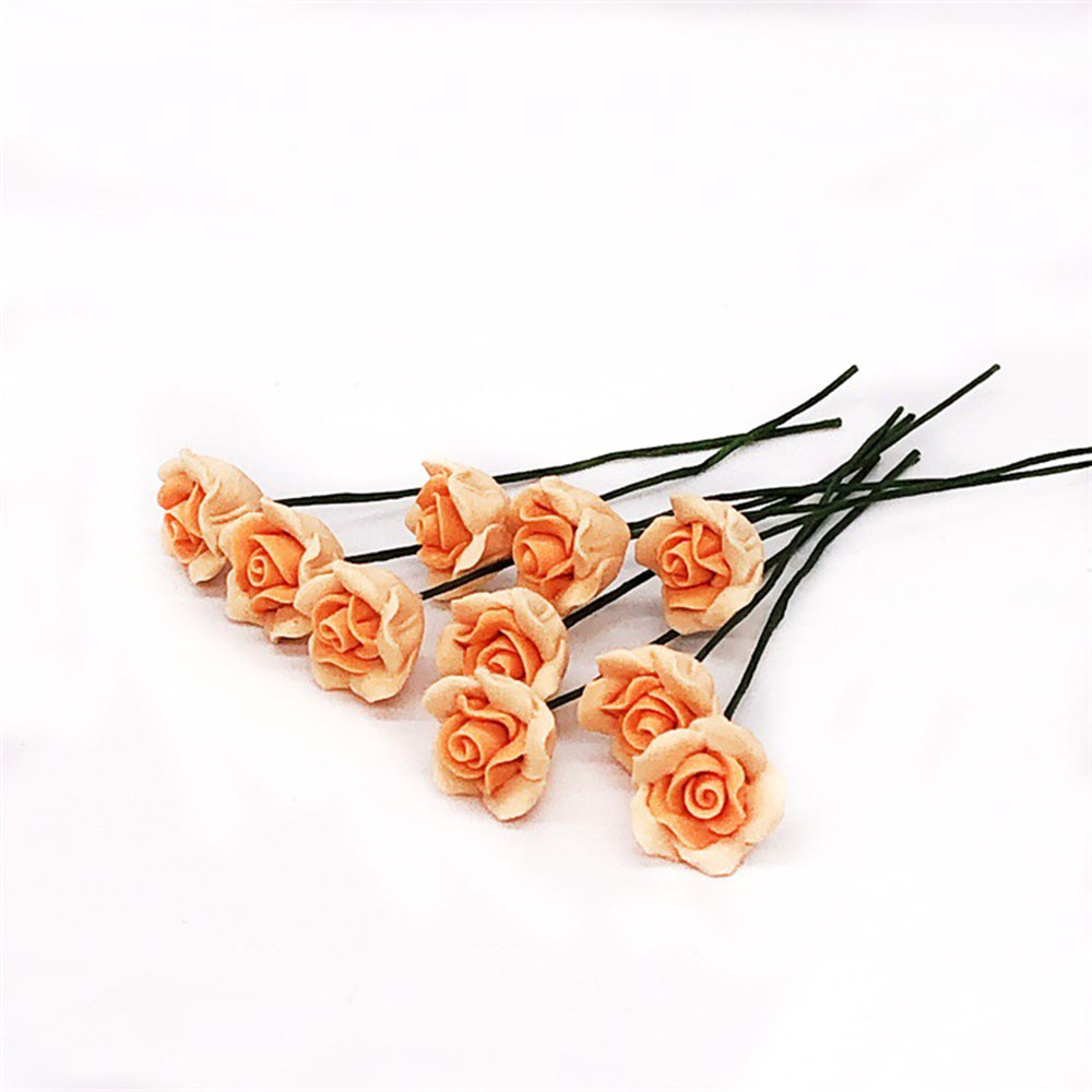 10Pcs 1/12 Dollhouse Miniature Accessories Mini Yellow Chinese Rose Simulation Flower Model Toy For Doll House Decoration
