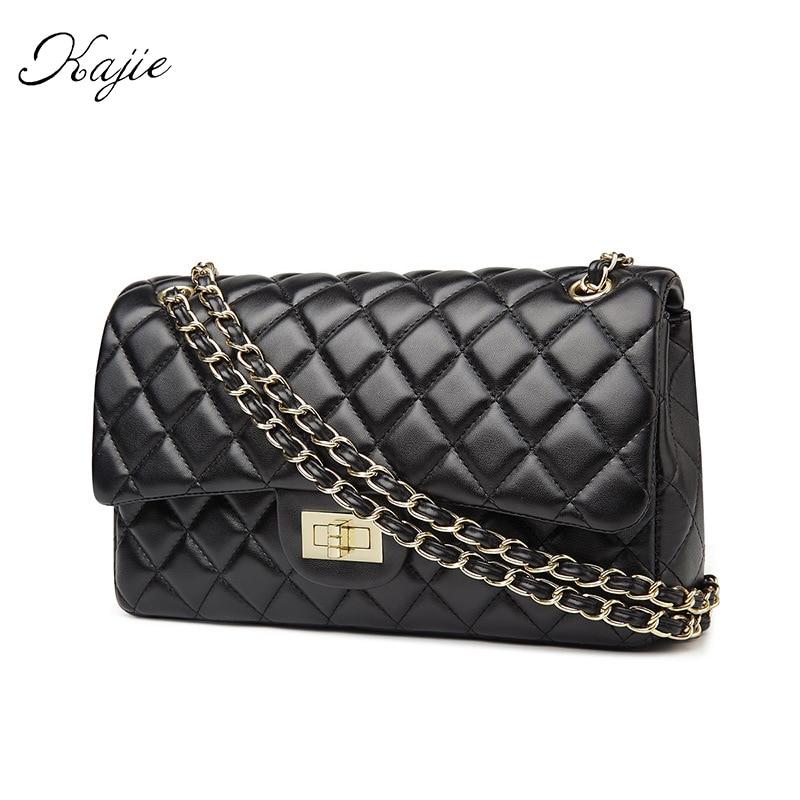 все цены на Kajie 2018 New Fashion Golden Chain Women Messenger Bags Female Leather Designer Handbags High Quality Channels Casual Bag онлайн