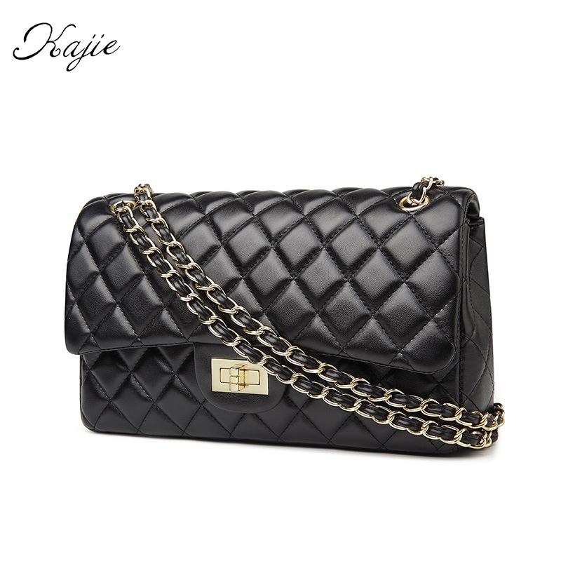 Kajie 2018 New Fashion Golden Chain Women Messenger Bags Female Leather Designer Handbags High Quality Channels Casual Bag