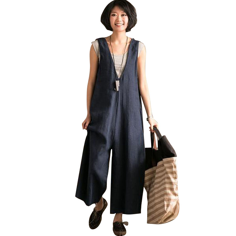 2018 Linen   Jumpsuits   Women Harem Rompers Casual Pockets Sleeveless Backless Long Pants Loose Playsuit Plus Size Oversize Romper