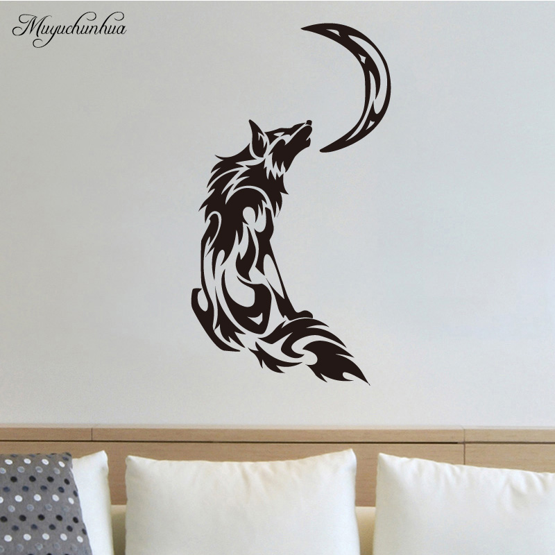 Muyuchunhua Full Moon of The Wolf Sticker Art Mural Home Decor Living Room Bedroom Kids Rooms Vinilos Decorativos Para Paredes