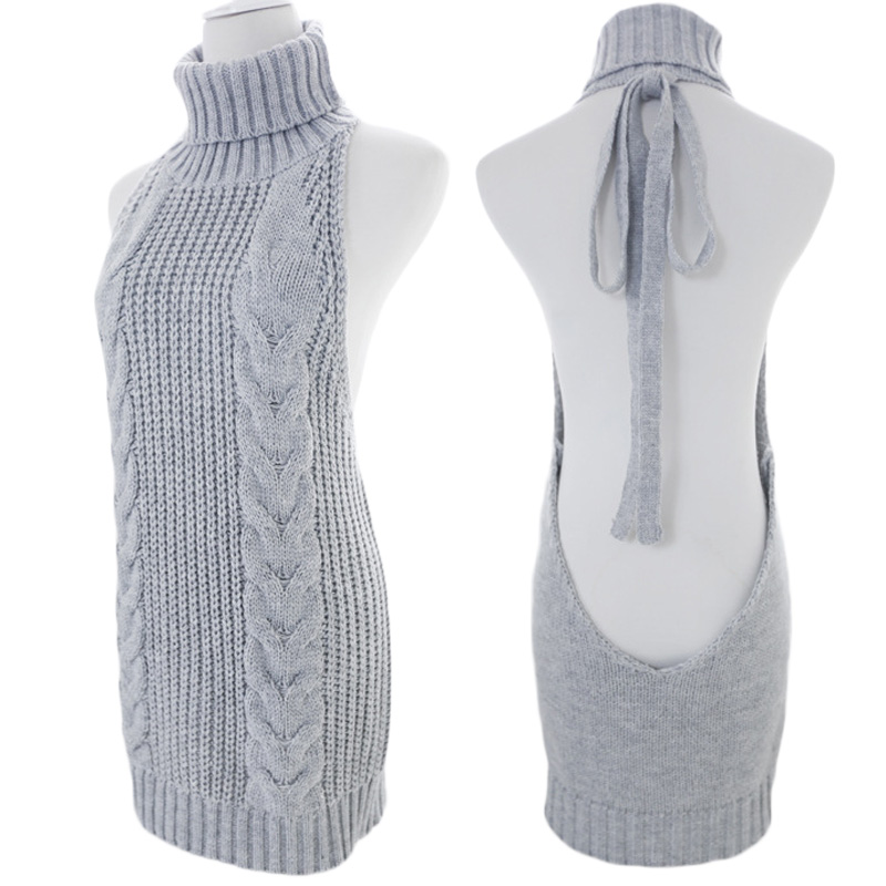 Women Sleeveless Knitted Sweater Lace Up Backless Virgin Killer Sweater Long Vest Turtleneck Tank Girls Sexy Pullover Cos Top