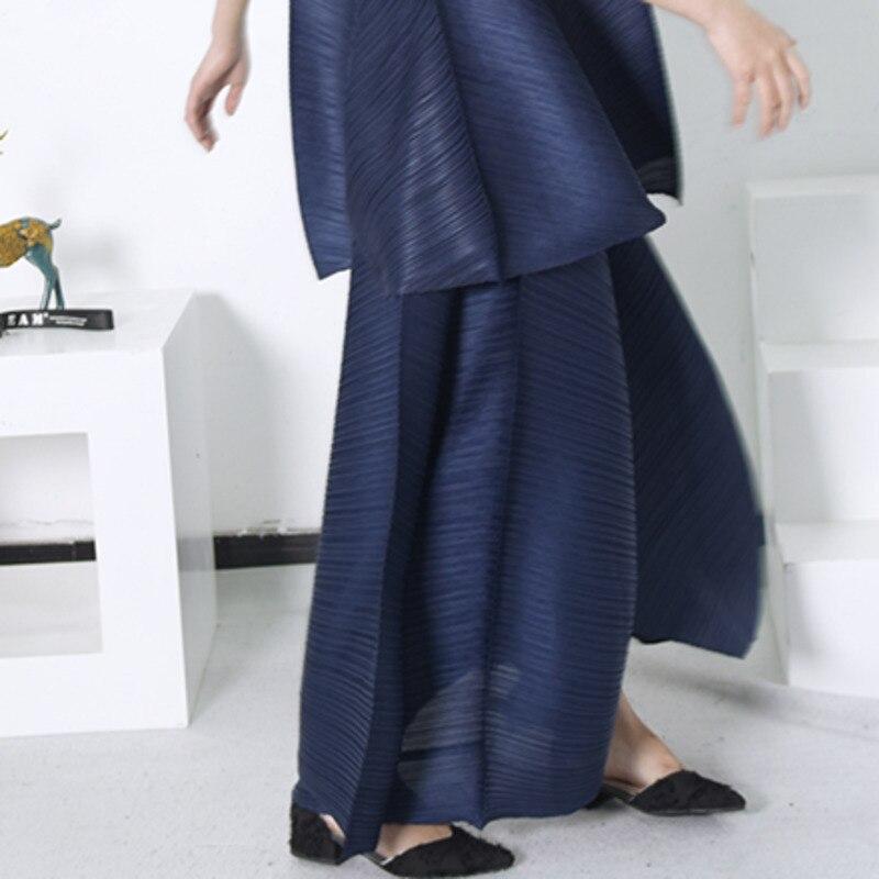 Encaje Elástico Mujer Alta Pierna Blue Yd00817 Moda Casual Lazo Cintura Pantalones Suelto 2018 Muerte Plisado Nueva Verano Ancha Nice De xYnqX4
