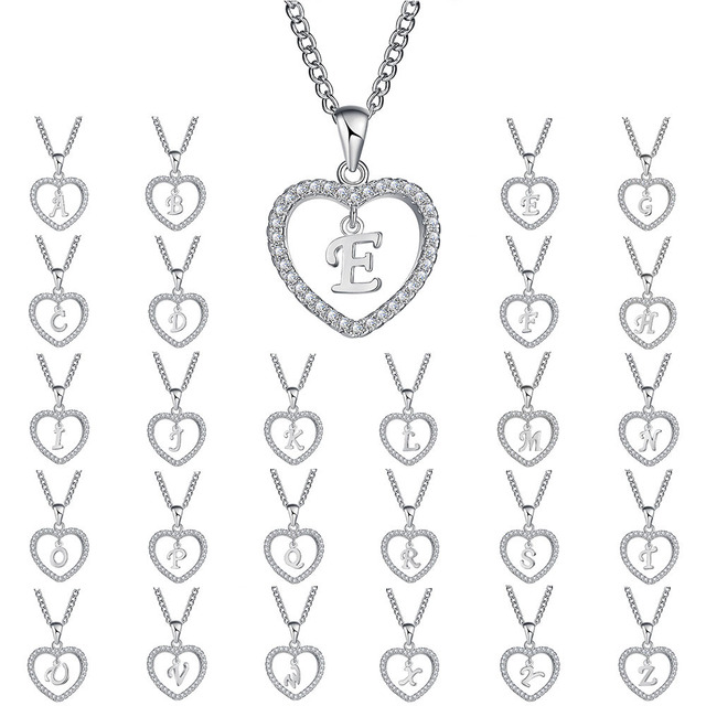 17KM A to Z Name Necklaces & Pendant For Women Girls Fashion Long Chain Heart Ne