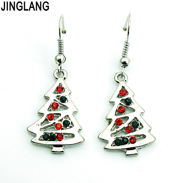 christmas beaded tree earrings