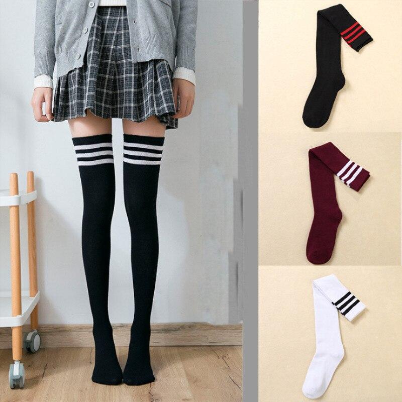 Women Girls Black/&White Tight  Knee High Long Socks Fashion Stockings PVCA