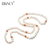 Fashion Natural freshwater pearl long necklace 80CM baroque white for women Winter sweater accessories