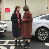 2 colors autumn and winter korean single breasted wool coat pocket medium long woolen jackets womens (B0985)