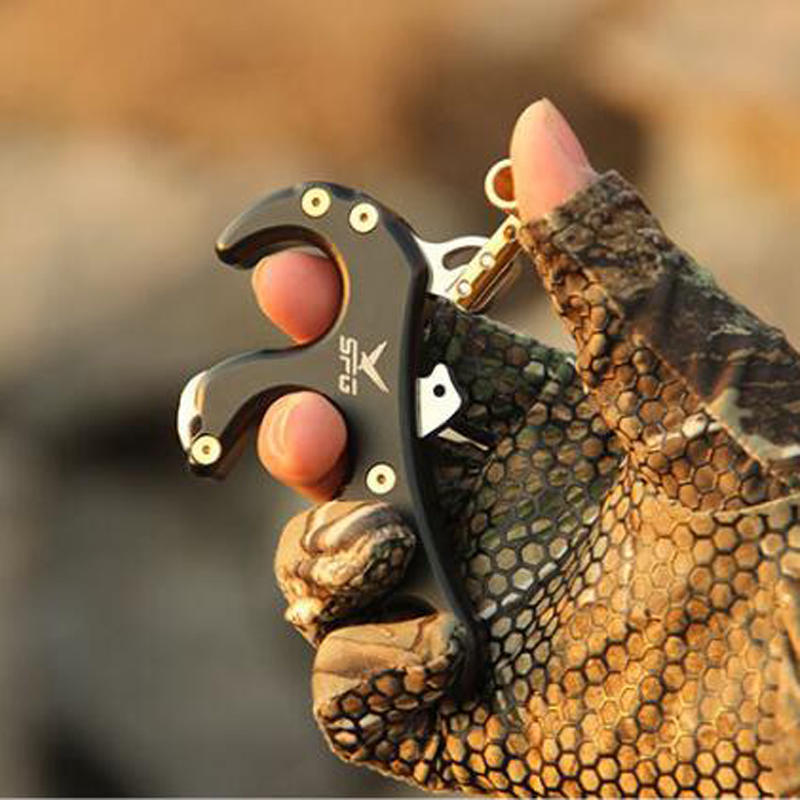 Archery Release Aids 4 Finger Release  Stainless Steel Grip Caliper Release Aids For Compound Bow Hunting