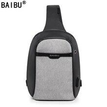 BAIBU NEN External USB Charge Casual Black Chest Bag Men Messenger Bags Small Bags Travel Backbag CrossBody Shoulder bag for MEN