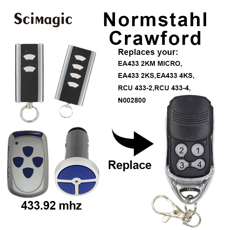 2pcs Normstahl Carwford EA433 2KS / RCU433-4 / N002800 / EA433 2KM Micro / T433-4 Remote Control Rolling Code 433.92 MHz