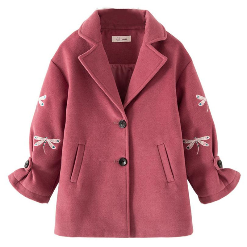 DFXD High Quality Autumn Winter Teen Girls Long Sleeve Dragonfly Embroidery Wool Coat Fashion Korean Girls Thicken Outwear 3-12Y
