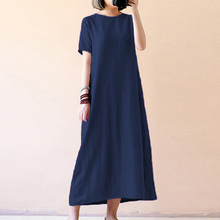 Womens Casual Oversize Ethnic Cotton Linen Short Sleeve Maxi Dress Tunic Kaftan