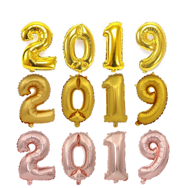 2019 digital balloon suits golden silver rose gold balloon set pig year company annual decorating balloon in Ballons Accessories from Home Garden