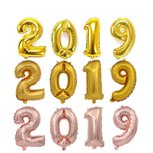 2019 digital  balloon suits, golden silver rose gold set, pig year company annual decorating